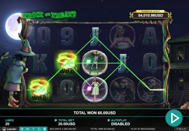 Jackpot Paradise featuring the Video Slots Trick or Treat with a maximum payout of $100,000