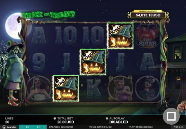 Amsterdam Casino featuring the Video Slots Trick or Treat with a maximum payout of $100,000