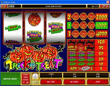 Play slots at Cabaret Club: Cabaret Club featuring the Video Slots Trick or Treat with a maximum payout of $20,000