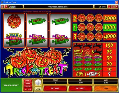 Play slots at Casiplay: Casiplay featuring the Video Slots Trick or Treat with a maximum payout of $20,000