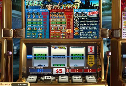 Intertops Classic featuring the Video Slots Trick or Treat with a maximum payout of $24,000