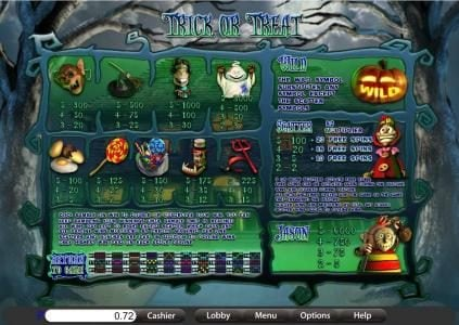 Villa Fortuna featuring the Video Slots Trick or Treat with a maximum payout of $7,500