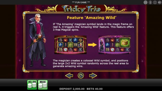 EU Casino featuring the Video Slots Tricky Trio with a maximum payout of $80,000