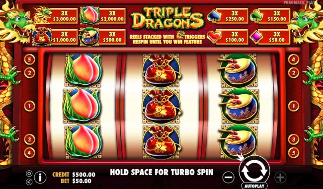 Mayflower featuring the Video Slots Triple Dragons with a maximum payout of $10,000