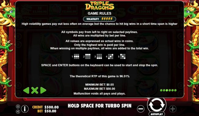 Casino States featuring the Video Slots Triple Dragons with a maximum payout of $10,000