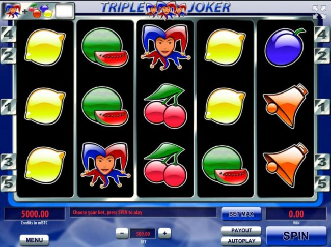 Play slots at Superior: Superior featuring the Video Slots Triple Joker with a maximum payout of $250,000