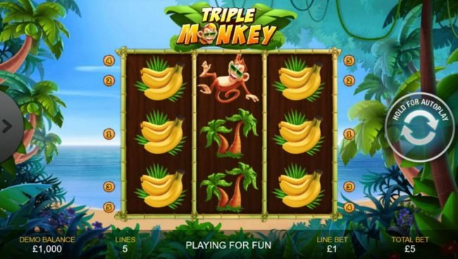 Play slots at Carnival: Carnival featuring the Video Slots Triple Monkey with a maximum payout of $1,000