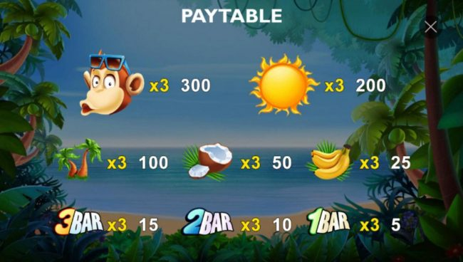 Slot game symbols paytable featuring tropical island inspired icons.