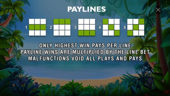 Triple Monkey :: Payline Diagrams 1-5. Only the highest win pays per line. Win combinations pay left to right except scatter symbols which pay any. Payline wins are multiplied by line bet.