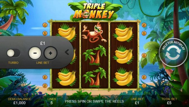Triple Monkey :: Click on the side menu button to adjust the coin value.