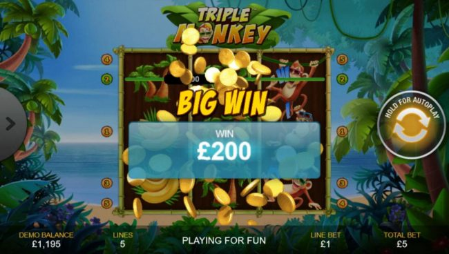 Mr Play featuring the Video Slots Triple Monkey with a maximum payout of $1,000
