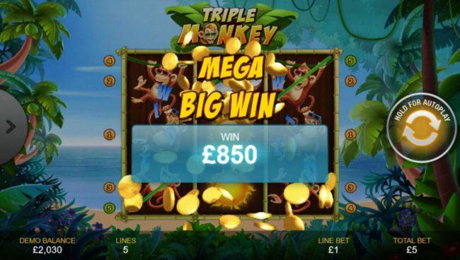 An 850.00 Mega Win!