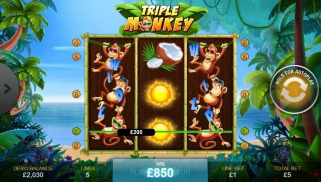 Triple Monkey :: Monkey Respin feature leads to an 850.00 mega win.