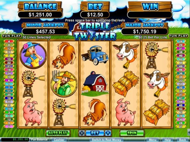 An animal farm themed main game board featuring five reels and 50 paylines with a $250,000 max payout