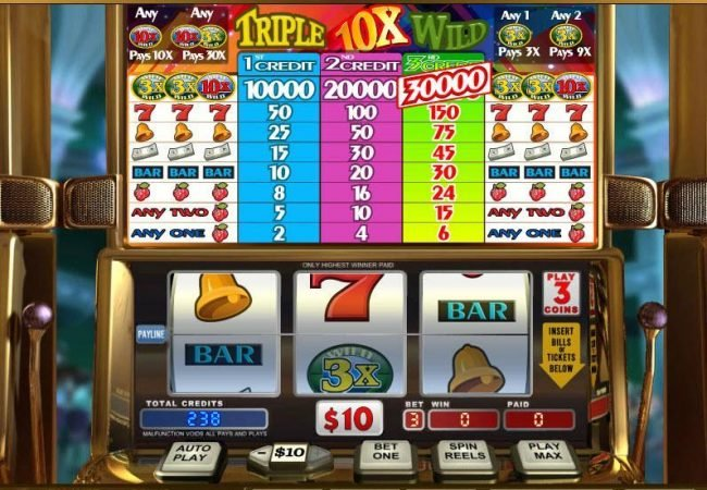 Triple 10x Wild :: Main game board featuring three reels and 1 payline with a $90,000 max payout
