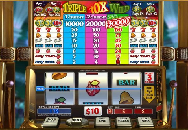 Triple 10x Wild :: Any one cherry symbols triggers a payout