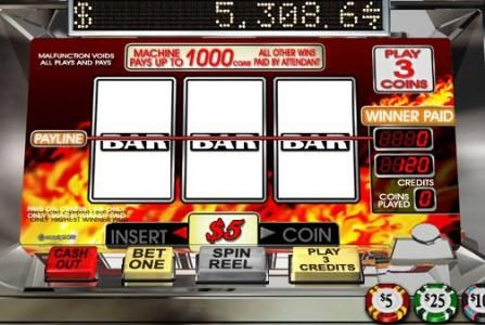 Slotter featuring the Video Slots Triple 7s Inferno with a maximum payout of $15,000