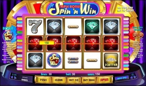 DruckGluck featuring the Video Slots Triple Bonus Spin 'N Win with a maximum payout of $25,000