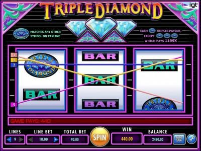 A triple diamond symbol adds a 3x multiplier to the winning paylines and a big win.