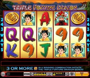 Triple Fortune Dragon :: main game board featuring five reels and 243 ways