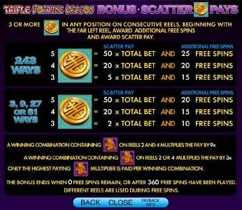 Triple Fortune Dragon :: bonus scatter pays