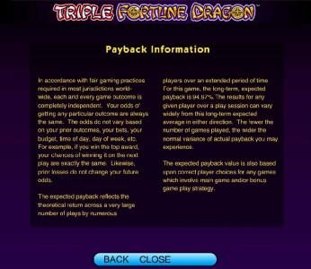 Triple Fortune Dragon :: payback information