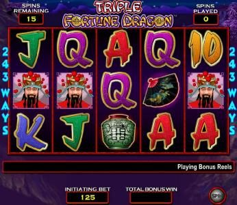 Triple Fortune Dragon :: free spins bonus feature game board