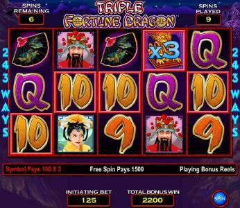 Triple Fortune Dragon :: five of a kind with a 3x multiplier triggers a 1500 coin payout