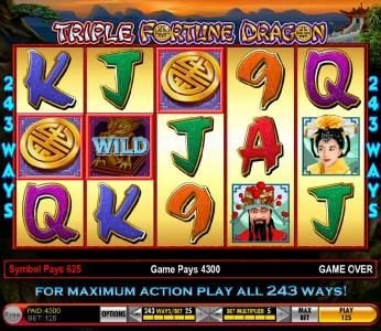 Triple Fortune Dragon :: the bonus feature pays out 4300 coins