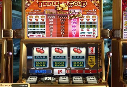 Lincoln featuring the Video Slots Triple Gold with a maximum payout of $450,000