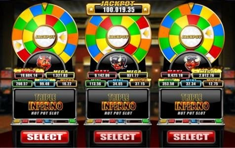 BGO Vegas featuring the Video Slots Triple Inferno with a maximum payout of Jackpot