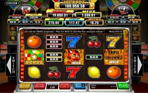 Play slots at Wicked Jackpots: Wicked Jackpots featuring the Video Slots Triple Inferno with a maximum payout of Jackpot