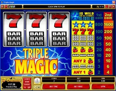 Heaven Bet featuring the Video Slots Triple Magic with a maximum payout of $160,000
