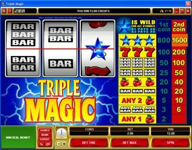 Lucky Nugget featuring the Video Slots Triple Magic with a maximum payout of $160,000