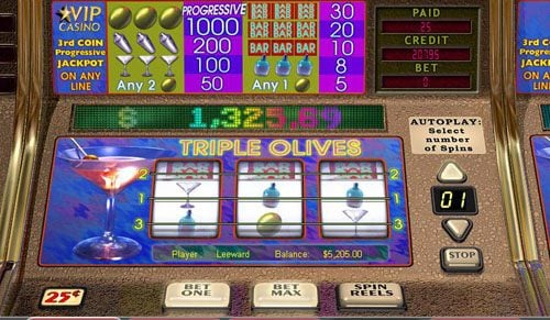 Casino Superlines featuring the video-Slots Triple Olives with a maximum payout of Jackpot