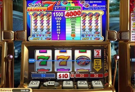 Miami Club featuring the Video Slots Triple Rainbow 7's with a maximum payout of $80,000