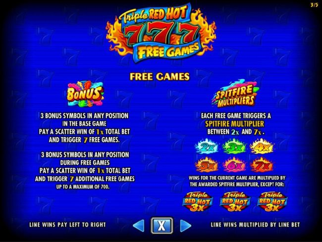 3 Bonus symbols in any position in the base game pay a scatter win of 1x total bet and trigger 7 free games