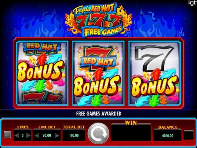 Three bonus symbols triggers the Free Games feature.
