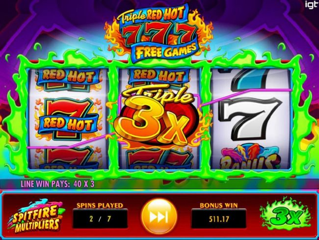 A wild multiplier triggers a big win during the Free Games bonus feature.