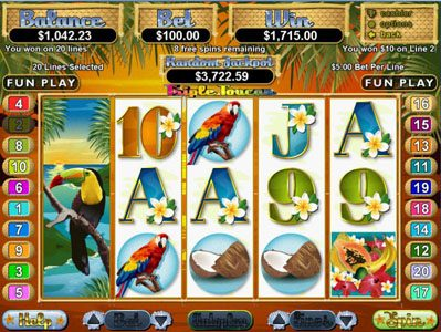 Palace of Chance featuring the Video Slots Triple Toucan with a maximum payout of $250,000