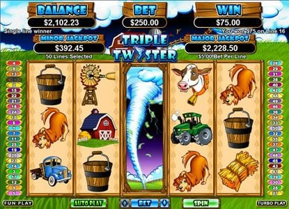 Play slots at Uptown Aces: Uptown Aces featuring the Video Slots Triple Twister with a maximum payout of $250,000