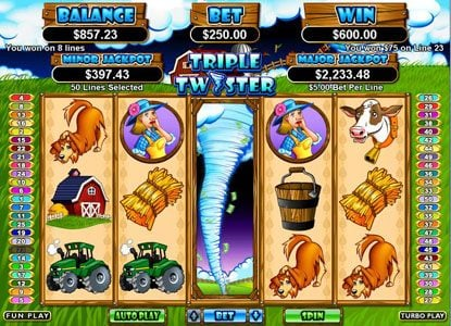 Pure Vegas featuring the Video Slots Triple Twister with a maximum payout of $250,000