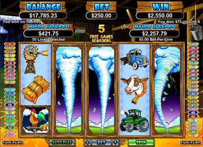 Raging Bull featuring the Video Slots Triple Twister with a maximum payout of $250,000