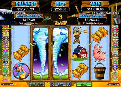 Play slots at Mega 7's: Mega 7's featuring the Video Slots Triple Twister with a maximum payout of $250,000