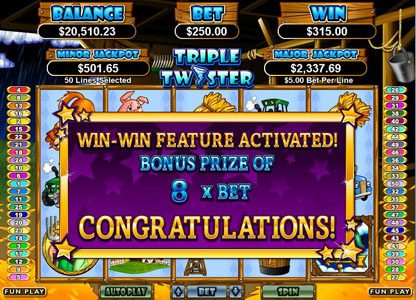 Aladdins Gold featuring the Video Slots Triple Twister with a maximum payout of $250,000
