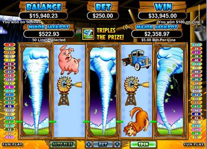 Slotastic featuring the Video Slots Triple Twister with a maximum payout of $250,000