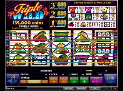 Play slots at Big5 Casino: Big5 Casino featuring the Video Slots Triple Wild with a maximum payout of $675,000