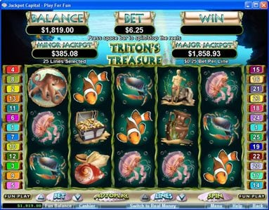ZigZag777 featuring the Video Slots Triton's Treasure with a maximum payout of 3333x