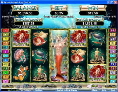 Wild Jackpots featuring the Video Slots Triton's Treasure with a maximum payout of 3333x