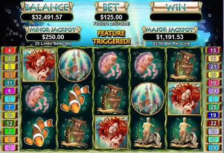Red Dog featuring the Video Slots Triton's Treasure with a maximum payout of $250,000